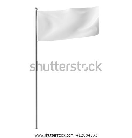 Blank, mock-up white flag isolayed on white background. 3D illustration - stock photo
