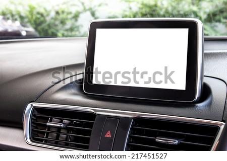 blank modern car's display screen - stock photo
