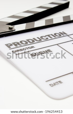Blank movie clapper board, slate film. - stock photo