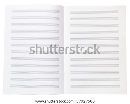 Blank music copy book note sheet opened isolated on white - stock photo