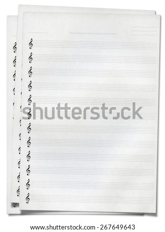 Blank music note sheet, isolated on white - stock photo