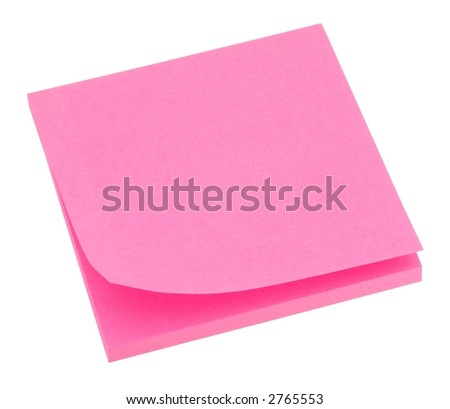 Blank neon pink memo pad isolated on white. - stock photo