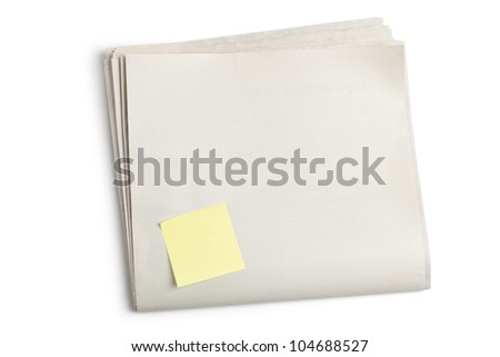 Blank Newspaper and Sticky Note with white background - stock photo