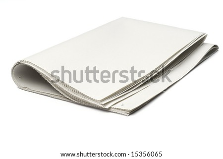 blank newspaper on white with clipping path - stock photo