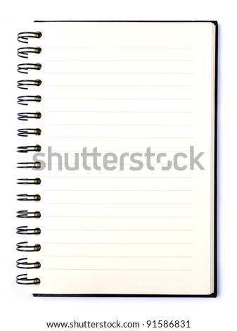 Blank note book  isolated on white - stock photo