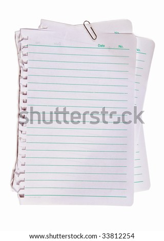 Blank note paper and metal paper clip - stock photo