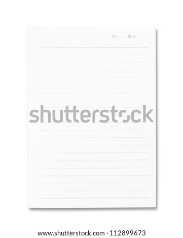Blank note paper isolated on white - stock photo