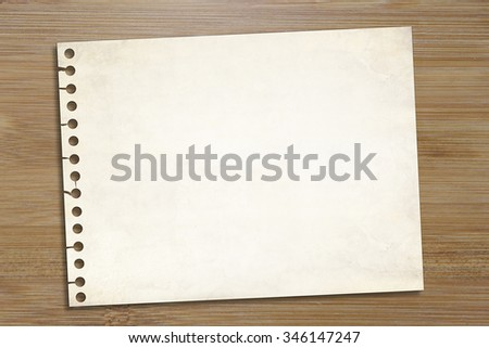 blank note paper over wooden background. Office use memo, notepad, business, school education idea template - stock photo
