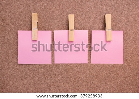 blank note paper set on brown background. empty space for text. selective focus. - stock photo