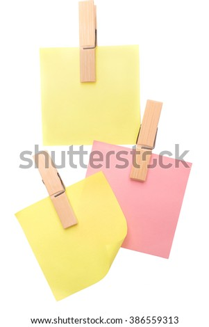 blank note paper set on white background / Sticky note isolated on white background. empty space for text.  - stock photo