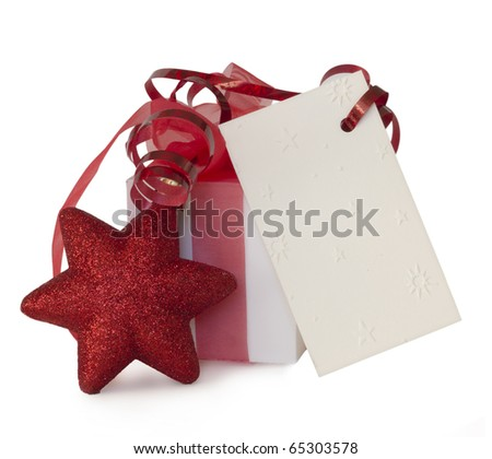 blank note paper with red star isolated on white, holiday concept - stock photo
