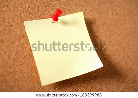 Blank Note with Push Pin - stock photo