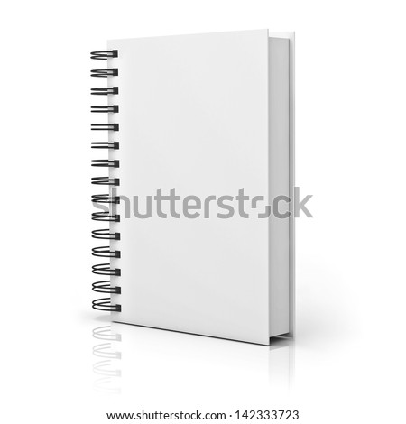 Blank notebook cover over white background with reflection - stock photo