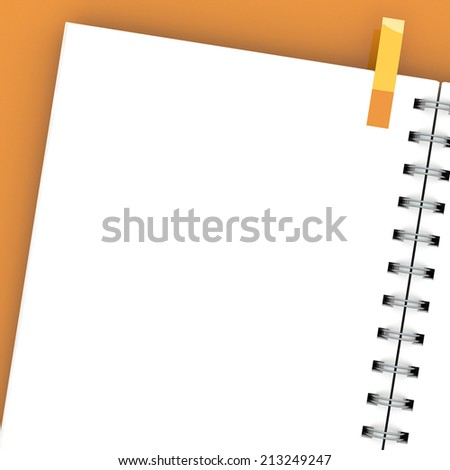 Blank notebook isolated on white - stock photo