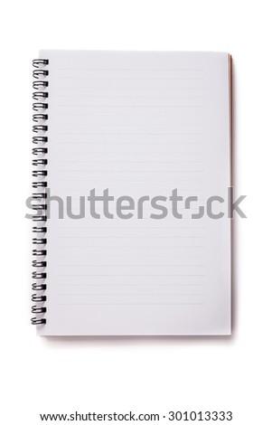 Blank Notebook Isolated on white background. - stock photo