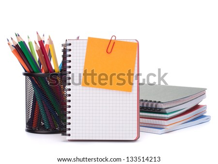 blank notebook sheet and apple. Schoolchild and student studies accessories. Back to school concept. - stock photo