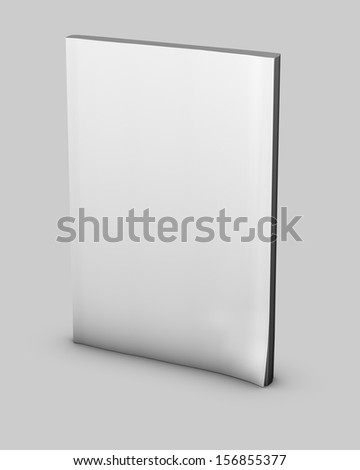 Blank notebook standing with empty cover, isolated. Perfect for presentation purposes. - stock photo