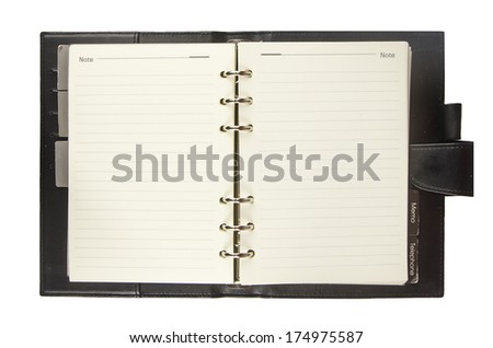 Blank notebook with black cover isolated on white background - stock photo
