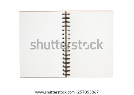 Blank notebook with blank place for text and notes. isolated on white. Open and empty - stock photo