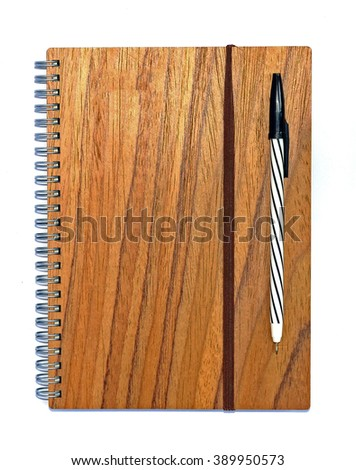 blank notebook with pen and penl on wooden table, business concept - stock photo