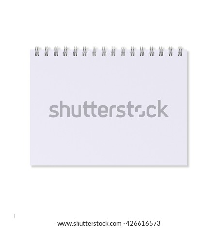 Blank notebook with ring binder, isolated on white background - stock photo
