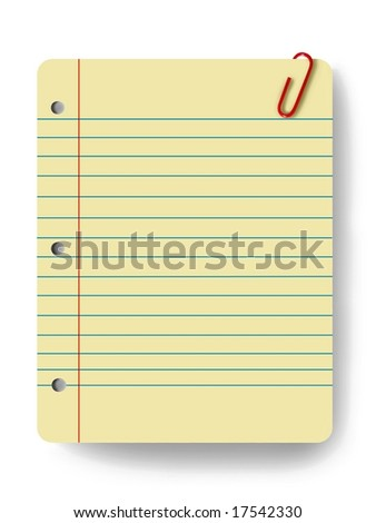 Blank notepad and a paper clip - stock photo