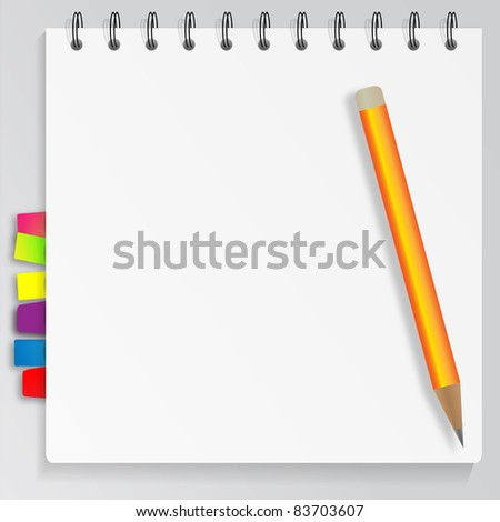 Blank notepad with bookmarks and pencil. Jpg version - stock photo