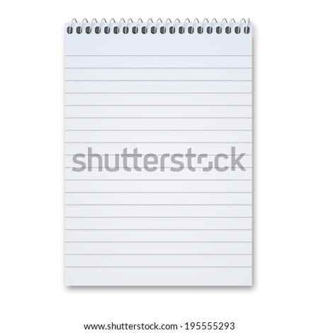 Blank notepad with metal spiral with lots of copy space, isolated on a white background with shadow. - stock photo