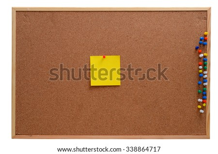 Blank notes pinned into brown corkboard - stock photo