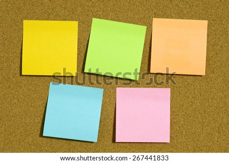 Blank Notes With Copy Space On Corkboard - stock photo