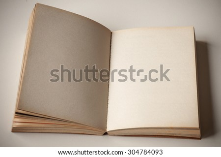 Blank old book open perspective view. - stock photo
