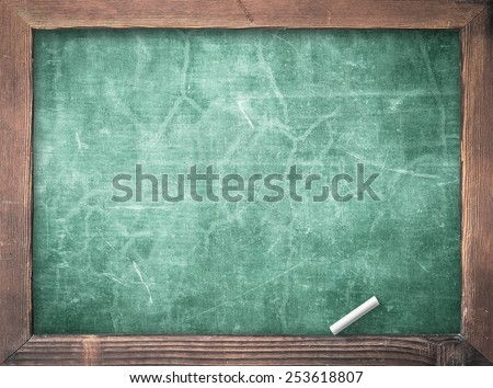 Blank old green board or dirty slate board with white chalk. - stock photo