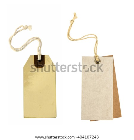 Blank old paper cloth tag or label set isolated on white - stock photo