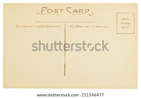 Blank Old Postcard Isolated on White Background - stock photo