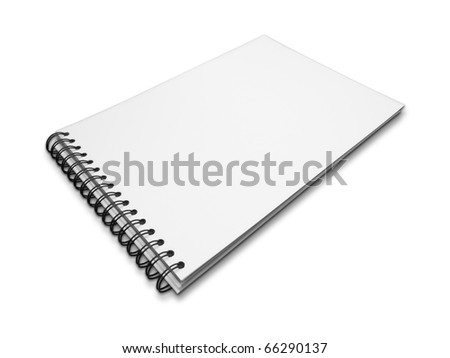 Blank one face white paper notebook perspective on white background - stock photo