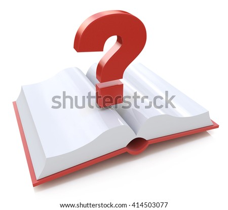 Blank open book and a question mark. 3d render illustration in the design of information related to the faq - stock photo