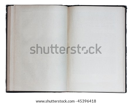 blank open book isolated on white background with clipping path - stock photo