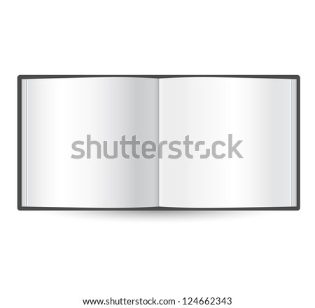 blank open book template - isolated on white - stock photo