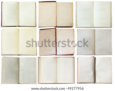 blank open books set isolated on white background with clipping path - stock photo
