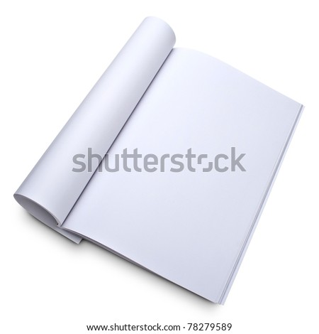 Blank open magazine isolated on white  - stock photo