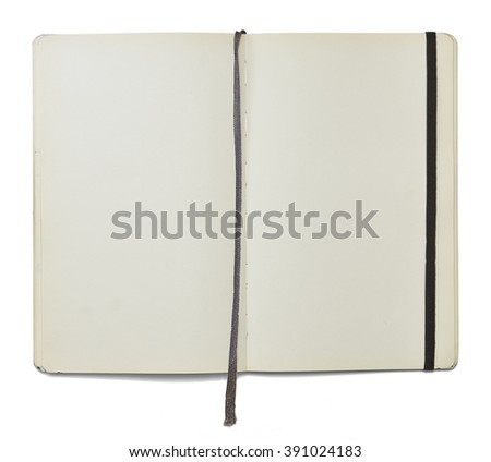 Blank open note book with a bookmark and an elastic closure isolated on white background in front view. Clipping path. - stock photo