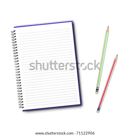 Blank open notebook and pencil on white background. - stock photo