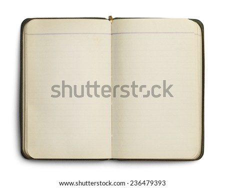Blank Open Notebook with Zipper Isolated on White Background. - stock photo