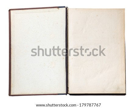 blank open old book isolated on white background with clipping path  - stock photo