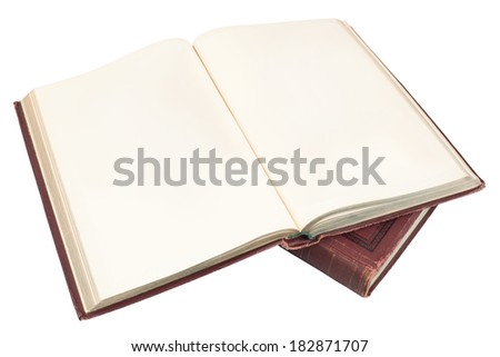 blank open vintage book, isolated on white background - stock photo