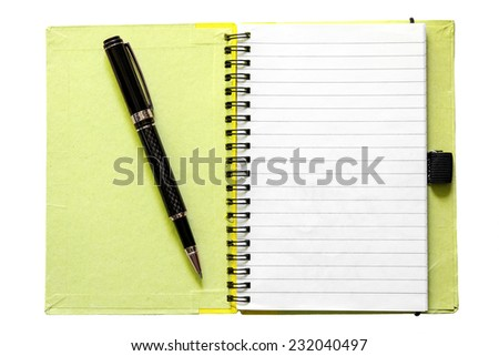 Blank open yellow notebook isolated on white  - stock photo