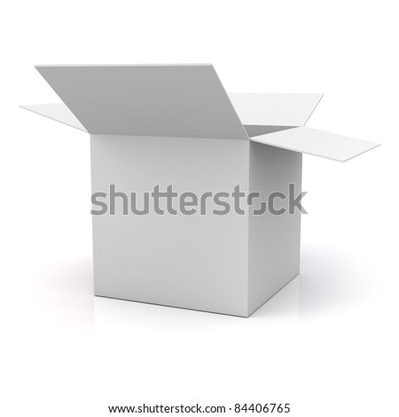 Blank opened cardboard box isolated on white background - stock photo
