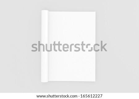 Blank opened full turn Magazine isolated on white with soft shadows - stock photo