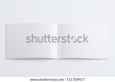 Blank opened magazine isolated on white background with soft shadows - stock photo