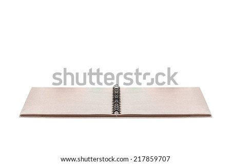 Blank opened recycled notebook isolated on white background with clipping path  - stock photo